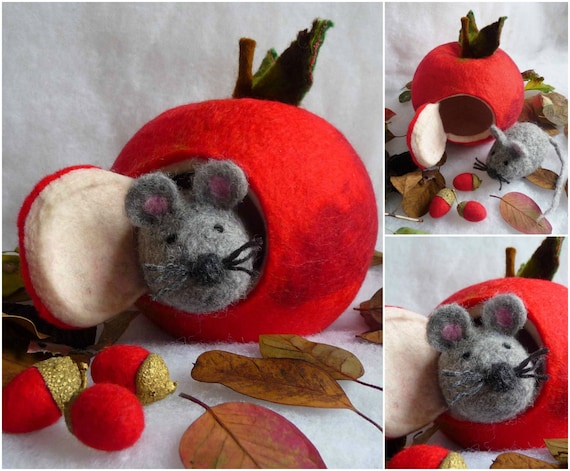 felt christmas ornaments felted wool ornament christmasfelted apple mouse handmade 11319
