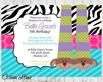 Printable Pajama Party Invitation. Customized Sleepover Party Invite. Puppy Slippers Invite.  Slipper Sleepover Invitation.