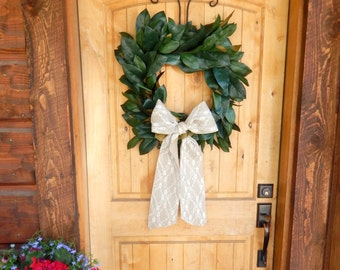 MAGNOLIA Wreath-SQUARE Magnolia Wreath-Farmhouse Wreath-Magnolia Door Wreath-Outdoor Wreath-Waterproof Wreath-Housewarming Wreath-Weddings
