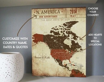 North America Map Choose Your Location Us Canvas Map Gift For Husband
