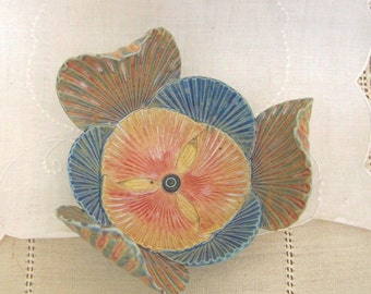 Pottery Flower Bowl, Handbuilt Porcelain, Ring Dish, Home Decor, Wedding Favor, Jewelry Tray, Blue, Orange, Gallery Pottery, Shell Texture