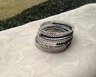 Silver Black White Memory Wire Bracelet Beaded Jewelry