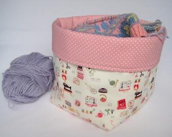 Cotton Fabric Basket, Sewing Basket, Knitting Basket, Craft Basket