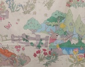 1 1/2 yards Vintage Peter Rabbit Nursery Fabric - Storybook by Cyrus Clark Co Decorator Fabric Classic Childrens Story Large Quilters Panel