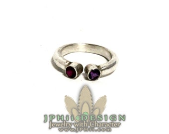 Ruby and Amethyst Horse-shoe Sterling Silver Ring