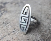 Maze RING / All Sterling Silver Hopi Style Jewelry / Size 9 Southwest Ring