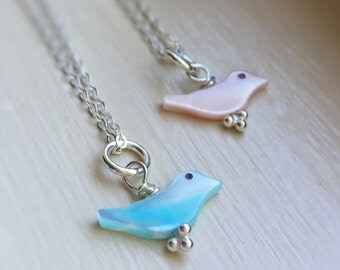 Tiny Bluebird Necklace Choose Color Pink or Blue Mother of Pearl MOP Shell Dainty Little Bird Sterling Silver Jewelry Necklace