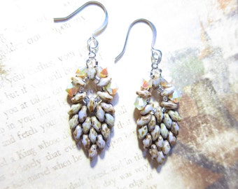 Swarovski Crystal SuperDuo Beaded Sand Opal Leaf Earrings TCJG