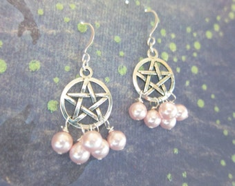 Rosaline Pink Swarovski Crystal Pearl Pentagram Silver Chandelier Earrings TCJG