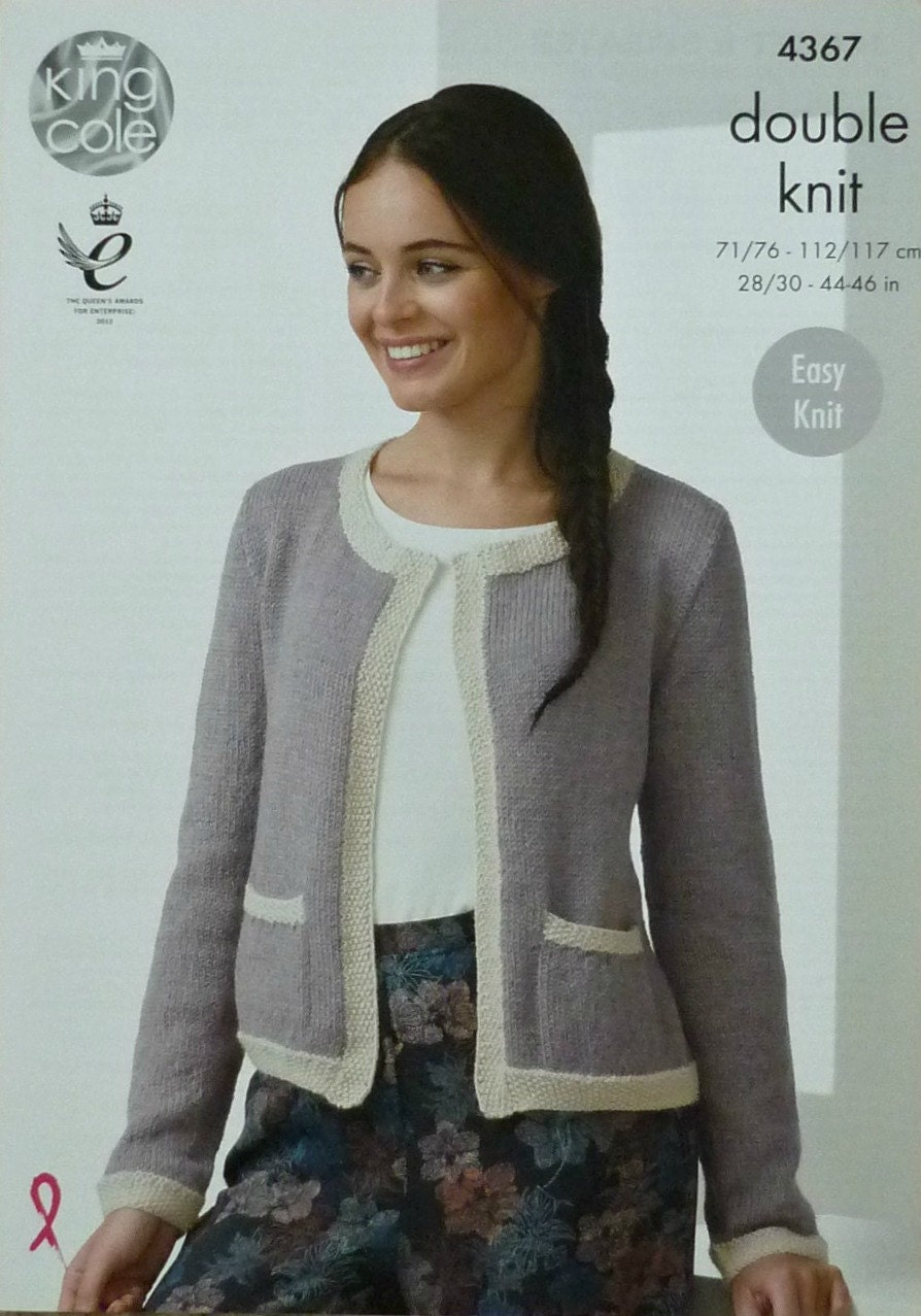 Knitting Pattern Boxy Jacket : Womens Knitting Pattern K4367 Ladies Easy Knit Long Sleeve Round Neck Two Col...