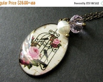 BACK to SCHOOL SALE Pink Floral Birdcage Necklace in Bronze with Pink Crystal Charm and Fresh Water Pearl. Handmade Jewelry.