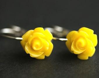 Yellow Rose Dangle Earrings. Rose Earrings. Yellow Earrings. Silver Lever Back Flower Earrings. Flower Jewelry. Handmade Jewelry.