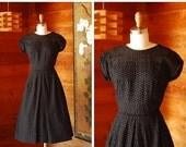 SALE / vintage 1950s dress / 50s black eyelet cotton dress / size xs extra small