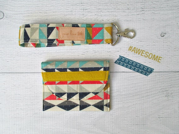 Aztec Card Wallet and Key Fob Gift Set. Southwest Style Gift Card Holder.  Keychain Wrist Strap. Gift Card Holder. Gifts Under 20.