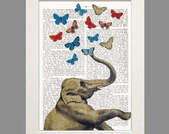 Elephant ELLE Art Print Dictionary Art Butterflies Poster Elephant Illustration Wall Decor Elephant Music Art