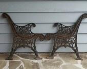 Vintage Ornate Cast Iron Bench Sides Legs Floral Scroll Design Heavy Duty Sturdy