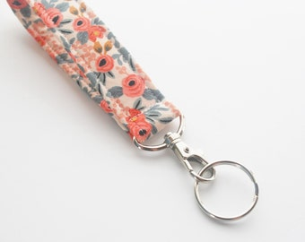 Handmade Floral Keychain, Key Fob, Wristlet Lanyard, Fabric Wristlet, Coral and Sage