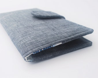 Narwhal Wallet, Womens Clutch Wallet, Vegan Fabric Wallet, Grey