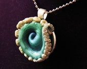 Blue and White Swirl Tentacle Necklace