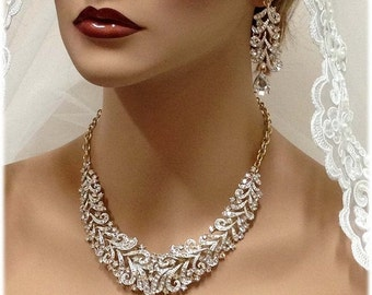 Wedding jewelry , Bridal bib necklace , vintage inspired necklace, rhinestone bridal statement necklace earrings set