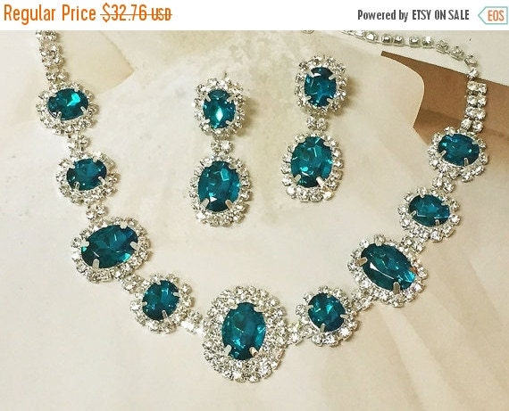 Wedding Jewelry Set Teal Blue Necklace And Earrings By