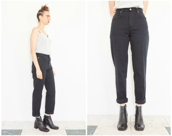 90s High Waist Black Denim Jeans / 27 Waist