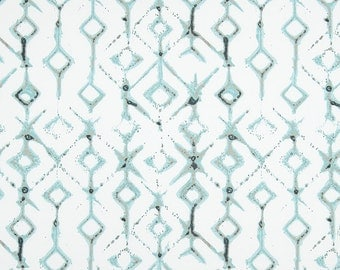 Aqua Blue White and Tan Tribal Curtains  Rod Pocket  63 72 84 90 96 108 or 120 Long x 24 or 50 Wide