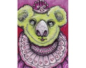 Original ACEO Koala, miniature art Princess!