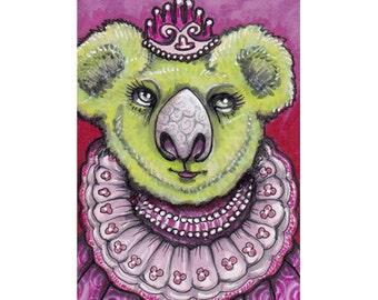 Original ACEO Koala, miniature art Princess!