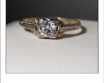 Antique 14k old European Cut  Diamond VS G .45  Carat Engagement Ring