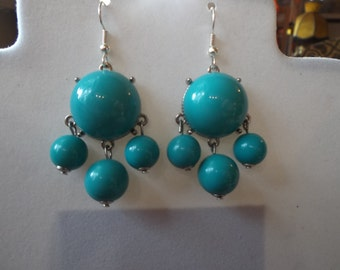 SALE Beautiful Turquoise and Silver Bubble Earrings Bohemian,  Hippie High Fashion Modern, Great Gift very Light  Ready to Ship
