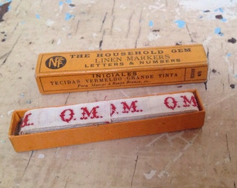 Vintage French box laundry labels, linen markers, Initial QM