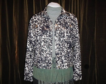 Vintage Women Large Jacket Black and White With Shiny Square Plastic Textured Flair