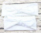 2 pcs RTS Ready to Ship Mommy & Me Matching Headbands Set Mother Daughter Headband Set Baby White Top Knot Knotted Turban Retro Vintage
