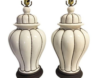 Brown and White Ginger Jar Lamps, Pr