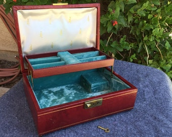 Mele jewelry box vintage music box with KEY 1950s 1960s burgandy & 24k gold tooling jewelry trinket box hand tooled leather