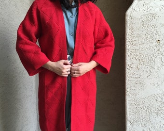 Crocheted red jacket BOHO coat scarlet red expertly constructed lined in red satin fall or winter dress jacket
