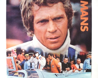 Vintage Steve McQueen Le Mans Movie Poster, Copyright 1971