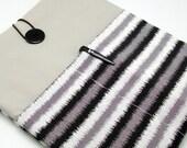 SALE - iPad Air case, iPad cover, iPad sleeve with 2 pockets, PADDED - Black grey white strips (41)