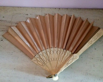 Silk Japanese Fan Celluloid Frame Vintage