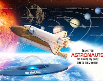 Out Of This World Party, Astronaut Thank you Card, Alien Thank you Note