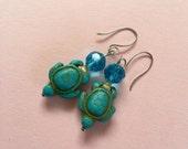 Turtle earrings/ turquoise sea turtle earrings/ summer earrings/ beachy earrings/ turquoise earrings/ turquoise crystals/ yellow cat eye/