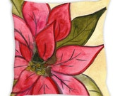 Pretty Poinsettia - Decorative pillow available in 3 sizes
