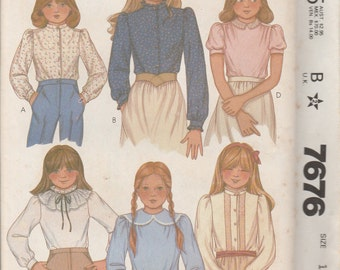 1981 Sewing Pattern McCall's 7676 girls blouses size 12 bust 30