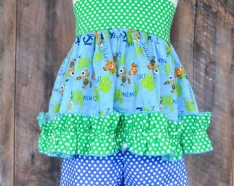 Girls Custom Disney Clothing, Finding Nemo Outfit, Girls Disney Clothing, sizes 2-8