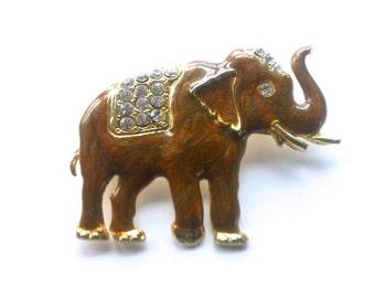 Bejeweled Rhinestone Elephant Ganesha Brooch Vintage Figural Fashion
