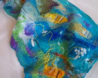 SALE, Felted, cobweb, wrap, merino wool, blue, yellow, fish - Fishnet