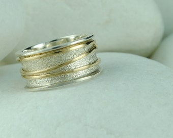 Band Ring '4 in 1', Sterling Silver and 14K Yellow Gold - FREE Shipping