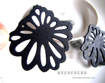Painting Series - 55x55mm Pretty Black Exaggerate Flowers Wooden Charm/Pendant MH130 01