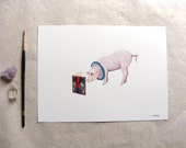 ORIGINAL // Critters and Cards: Pig // Watercolor and Pen
